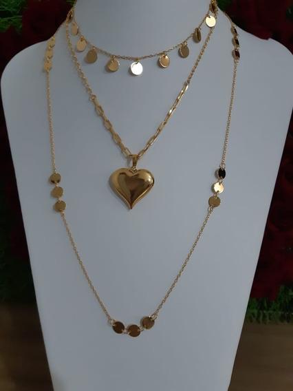 Conjunto Feminino Colar + Pingente Coração + Colar Longo+ Choker Dourado Folheado Ouro Novela A Dona Do Pedaço