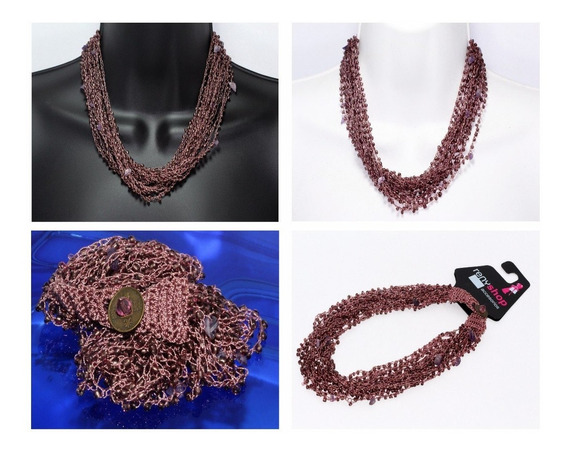 Collar Piedra Natural Dama Joyería Tela Amatista Ccpn159