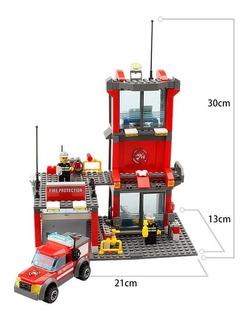 Estación De Bomberos Juguete Tipo Lego Kazi 300 Piezas
