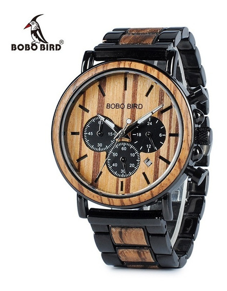 Relógio Madeira Bambu Bobo Bird Data Cronografo + Brinde