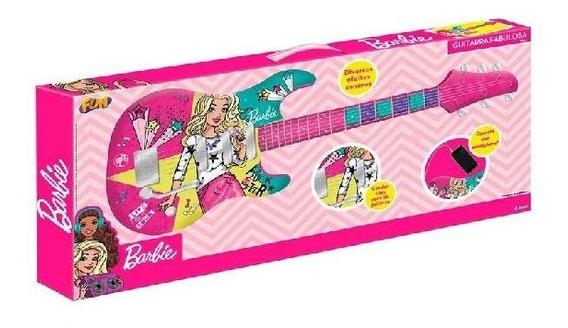 Guitarra Infantil Barbie Com Funçao Mp3 Fun 8006-9