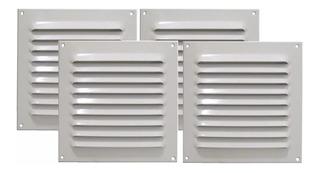 Kit 4 Grades De Ventilação Quadrada Alumínio Branca 20x20 Cm
