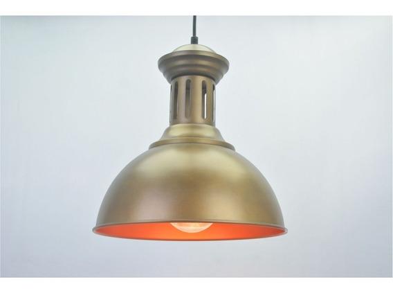 Lustre Pendente Retro Industrial Vlll Metal Dourado Pelegrin