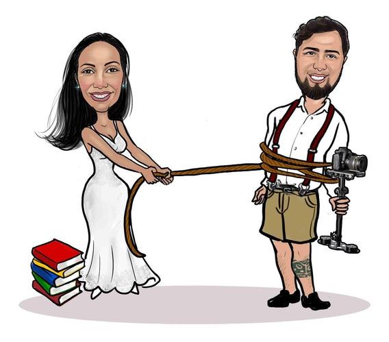 Caricatura Digital De Casal Fotofrafo Professora Livros Etc