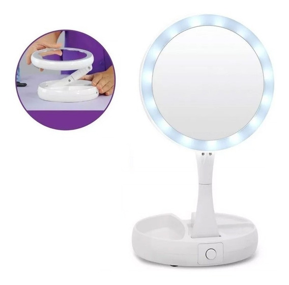 Espejo Luz Led Tactil Usb Maquillaje Portatil Aumento Plegab