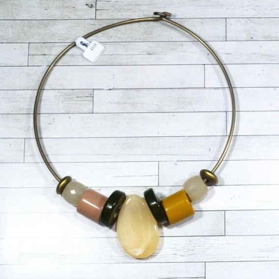 Gargantilha Bronze Enfeites Coloridos Em Resina - 4108