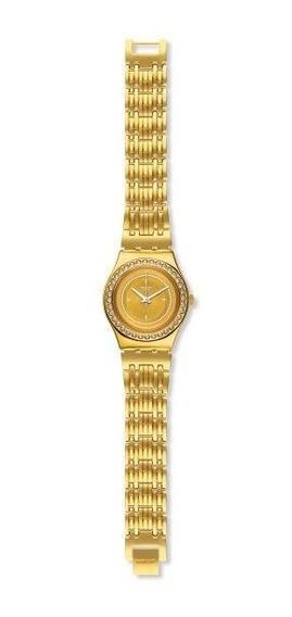 Relógio Swatch Glass Of Bubble Ylg136g Aço Dourado Original