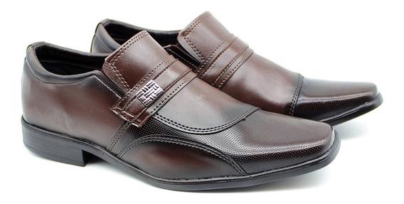 Sapato Social Casual Bico Quadrado Masculino Cor Café 2080