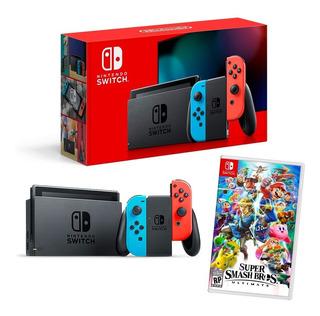 ® Consola Nintendo Switch Neon O Gris + Super Smash Bros Ult