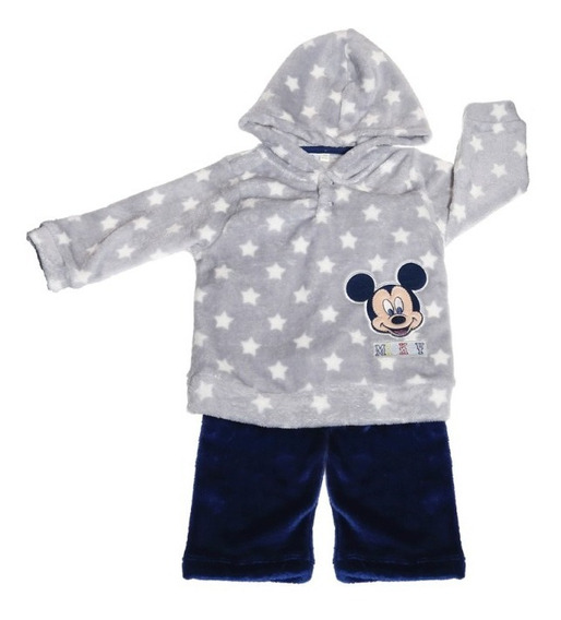 Conjunto Playera Y Pantalon Flanel Bordado Mickey Bb Ideal