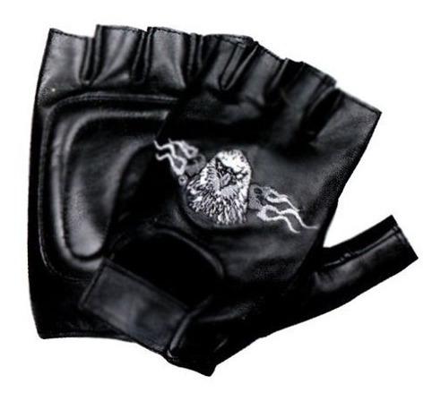 Luva Couro Moto Motociclista Proteção Meio Dedo Águia Harley
