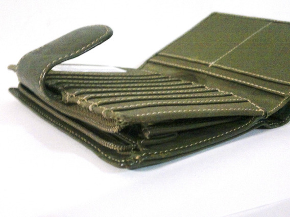 Cartera Monedero Billetera Verde Olivo De Dama