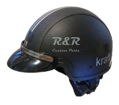 Capacete Kraft Com Aba Pala Couro Preto Custom Harley 56