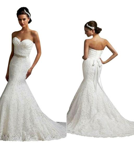 Vestido De Novia Sirena Nuevo Blanco Incluye Enagua