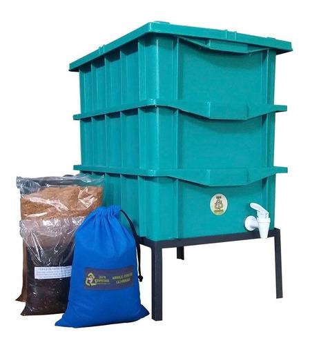 Composteira Dompestica 15 Verde   Minhocas E Suporte