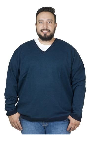 Malha Plus Size Bigshirts Gola V Listrado - Azul/preto