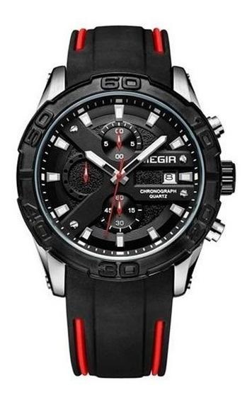 Relógio Megir Racing 2055 Com Pulseira De Silicone