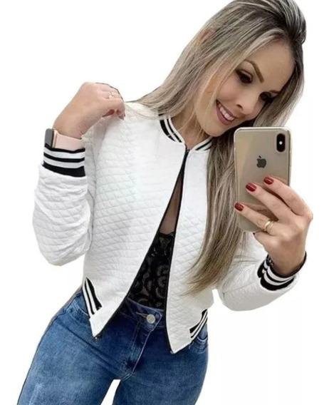 Jaquetinha Blusa Bomber Metalassê Casaco Blazer Listra Top