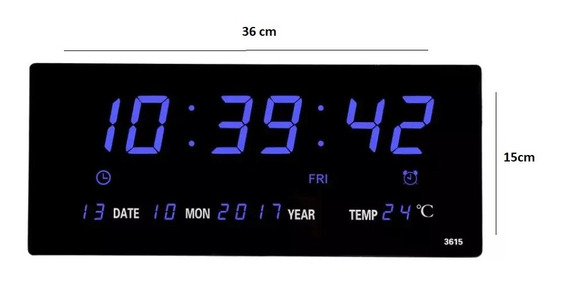 Reloj Led Digital Pared Y Fijo Azul 36cm Alarma, Termómetro