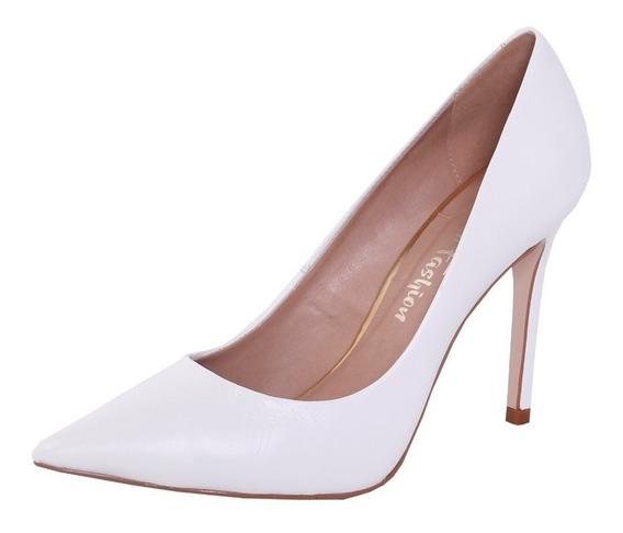 Sapato Scarpin Branco Couro Salto Médio Scarpin Na Promoção Sapato Social Branco Pra Casamento Noiva Sapato Para Festa