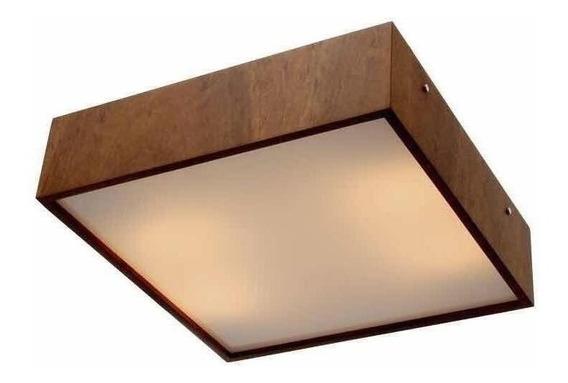 Plafon Quadrado Em Madeira 30 Cm Luminária Spot Sobrepor 70w