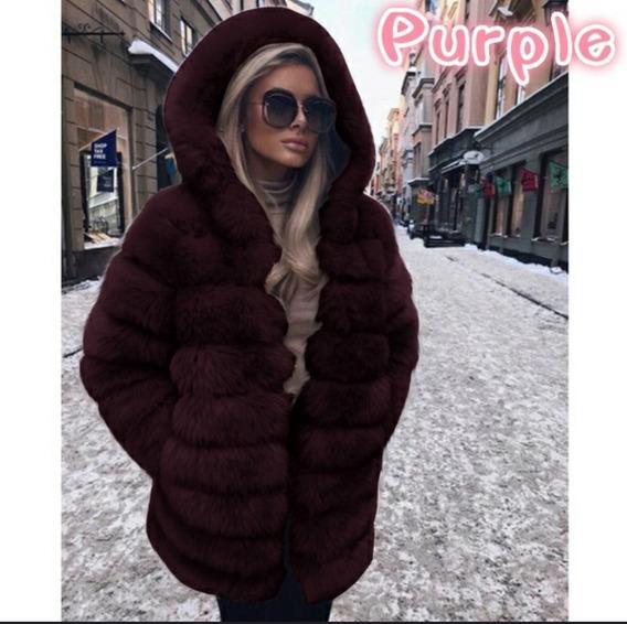 Casaco Feminino Inverno Neve Super Quente Grosso Pelo Capuz