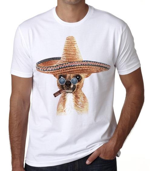 Playera Perro Chihuahua Sombrero Cigarro Revolucion Mexico