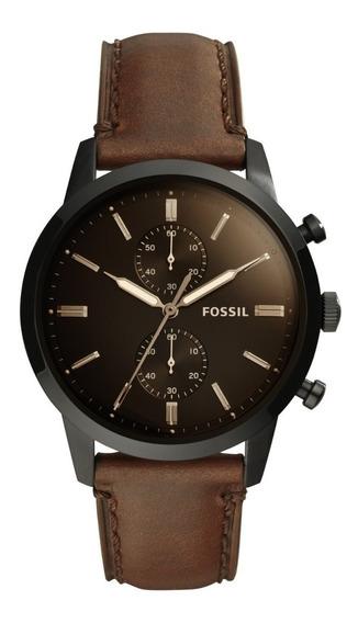 Reloj Caballero Fossil Fs5437 Color Café De Piel