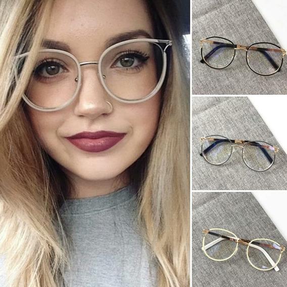 Armação Óculos De Grau Feminino Gatinho Blogueira, Promoção