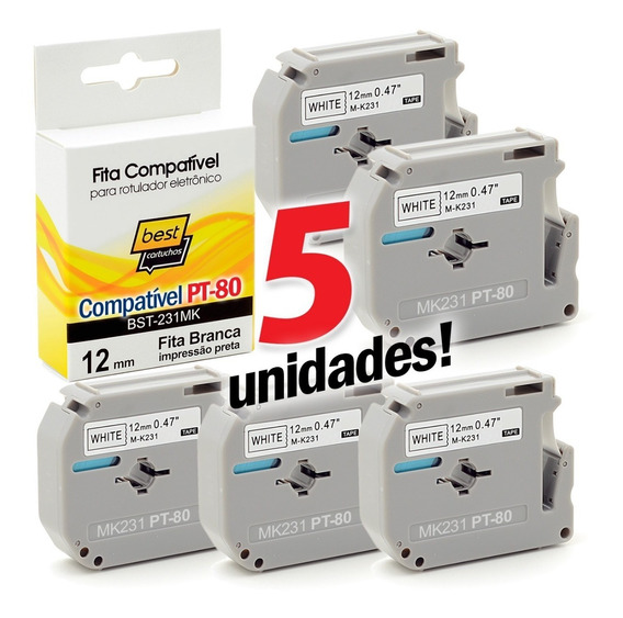 Kit 5 Fitas Compativel Pt-80 Pt80 M-k231 Mk231 M231