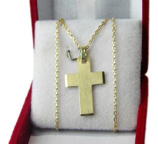 Conjunto 17 Oro Amarillo 18k Cadena Y Cruz Fct N°3 J Esponda