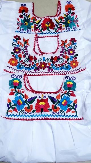 Blusa Bordada Típica Artesanal Mexicana Para Niña 1 A 12