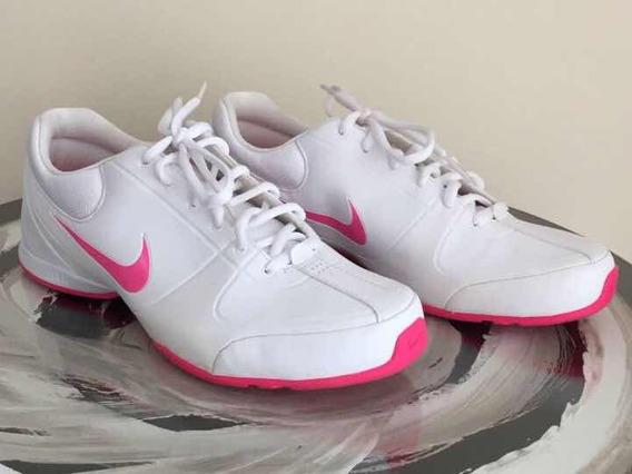 Tênis Nike Feminino Couro Branco E Rosa Original