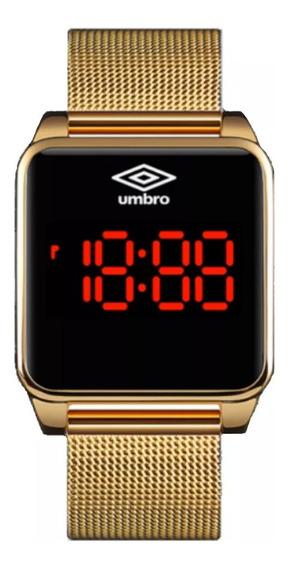 Relógio De Pulso Umbro Umb-051-g Led Touch Dourado Garantia