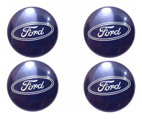 Imagem 1 de 6 de Kit 4 Calota Miolo Tampa Centro Roda Ford Fiesta Focus Azul