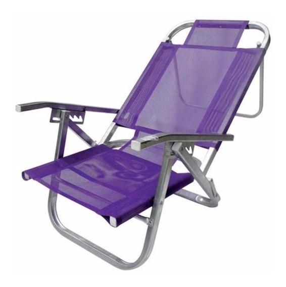 Cadeira Praia Reclinável 5 Posições Copacabana Aluminio