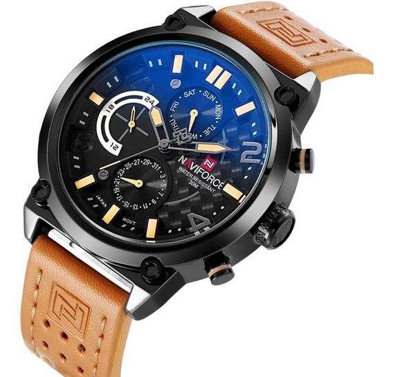 Relógio Masculino Naviforce Em Couro 9068 Caixa Original