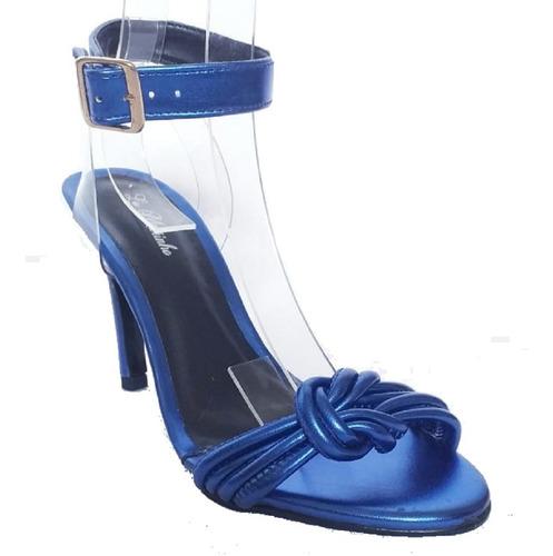 Imagem 1 de 3 de Sandalia Feminina Azul Salto Alto