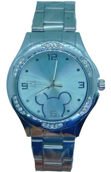 Relógio Mickey Mouse Prata Blogueiras Famosas Linda Caixa