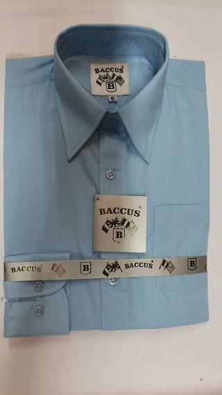 Camisa Niño De Vestir Lisa Manga Larga Marca Baccus T 2-18