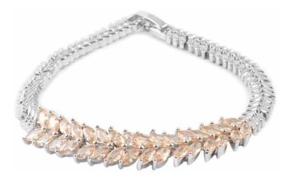 Brazalete Con Diamantes Simulados Champan Marca Sts Jewels