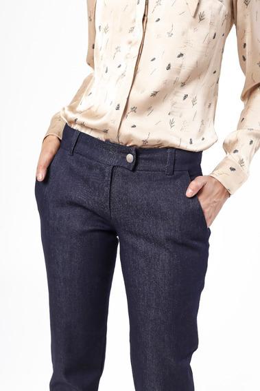 Pantalón Jean Elastizado Vestir Azul Tiro Medio Giacca