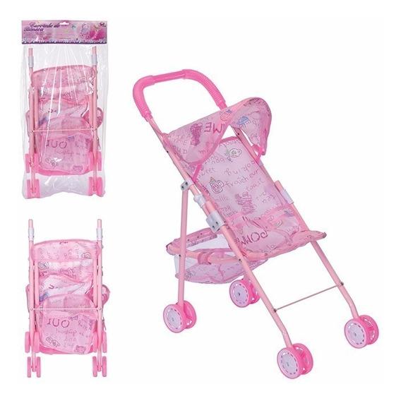 Carrinho Boneca Bebê Infantil Dobrável Rosa Menina Presente