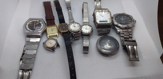 Lote De 9 Relógios De Pulso Marcas Technos- Seiko- Orient