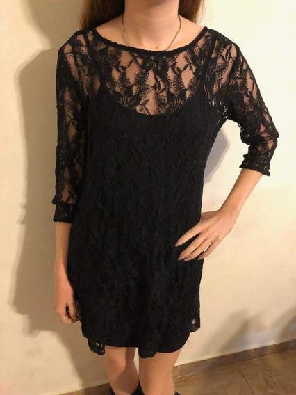 Vestido Negro Con Encaje Sobrepuesto Forever 21 Talle S