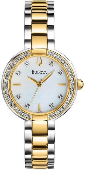 Relógio Bulova Diamont Wb27976b Diamantes Prata E Dourado Fe