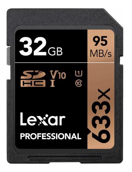Cartão De Memória Sdhc Lexar 633x 32gb 95mb/s Leitura