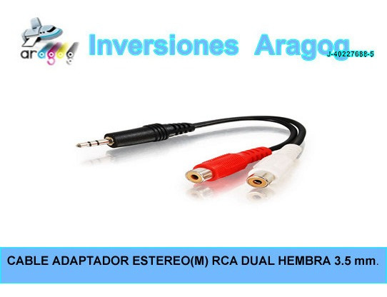 Cable Adaptador Estereo(m) Rca Dual Hembra 3.5 Mm.