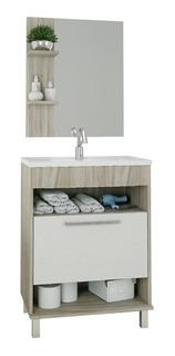 Mueble Para Baño Moderno Con Espejo 1 Puerta Y Repisas