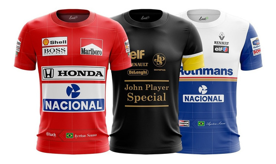 Combo 3 Camiseta Senna Lotus+ Mclaren + Willians F1 Retro